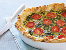 Spinach, Feta and Tomato Quiche