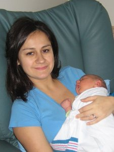 "My ""mothers day"" with Julian... just a couple days after he was born"